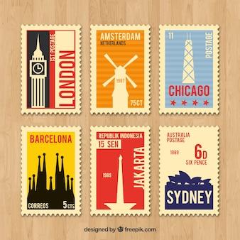 Colección de sellos de viaje retro