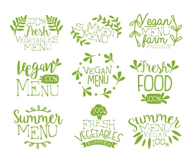 Colección de sellos vintage de comida vegana