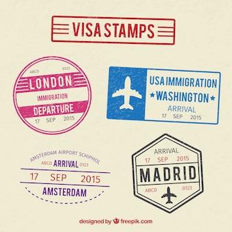 Colección de sellos de visa