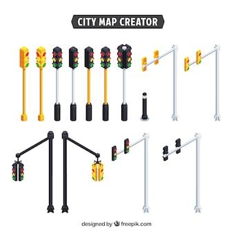 Colección de semáforos para crear una ciudad