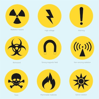 Colección de señales de advertencia ilustradas