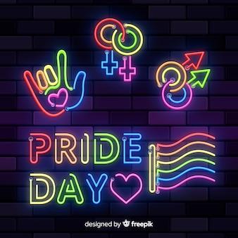 Colección de señales del día del orgullo lgbt en luz neón