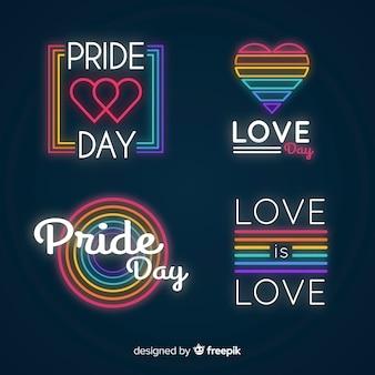 Colección de señales del día del orgullo en luz neón