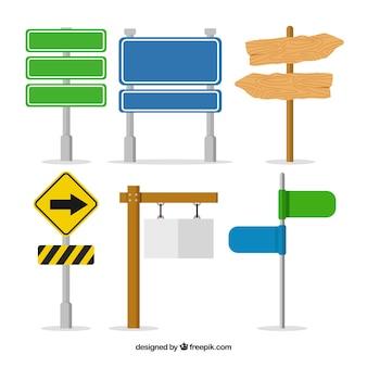 Colección de señales en diseño plano