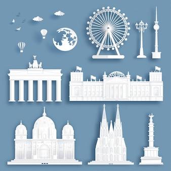 La colección de señales famosas de alemania en papel cortó el ejemplo del vector del estilo.