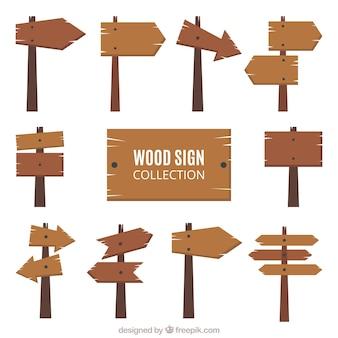Colección de señales de madera en diseño plano