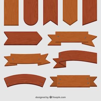Colección de señales de madera en estilo vintage