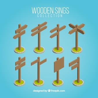 Colección de señales de madera isométricas