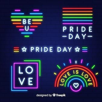 Colección señales de neón día del orgullo