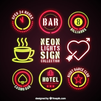 Colección de señales de neón de diferentes tipos