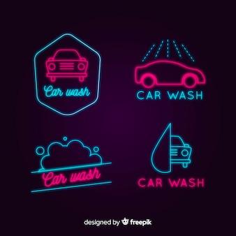 Colección señales neón lavadero de coches
