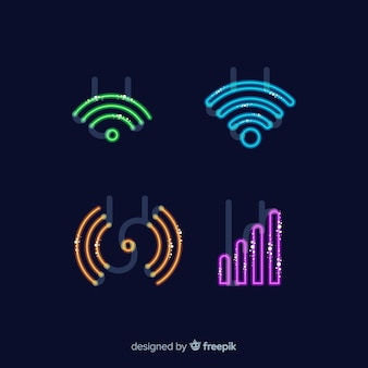Colección señales de neón wifi planas