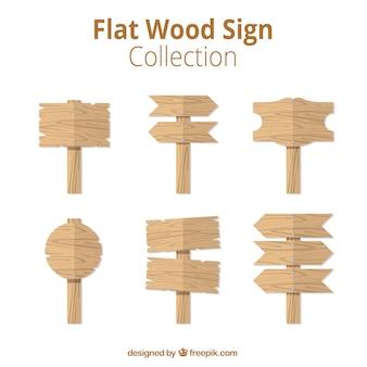 Colección de señales planas de madera