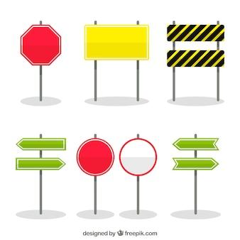 Colección de señales de tráfico en diseño plano