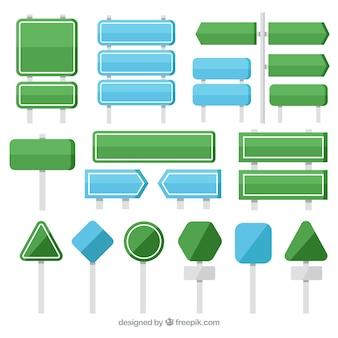 Colección de señales verdes y azules en diseño plano
