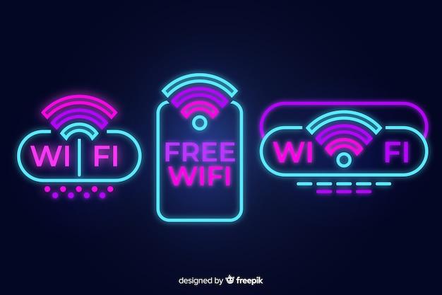 Colección de señales de wifi en luz neón
