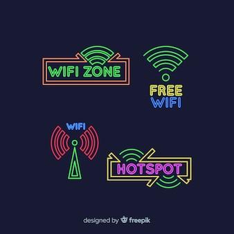 Colección de señales de wifi en luz neon