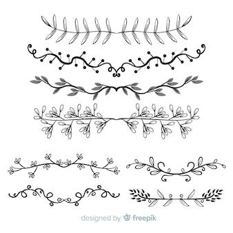 Colección de separadores ornamentales dibujados a mano