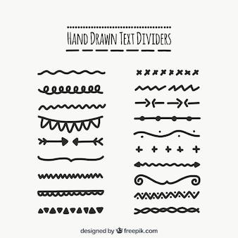 Colección de separadores de texto dibujados a mano
