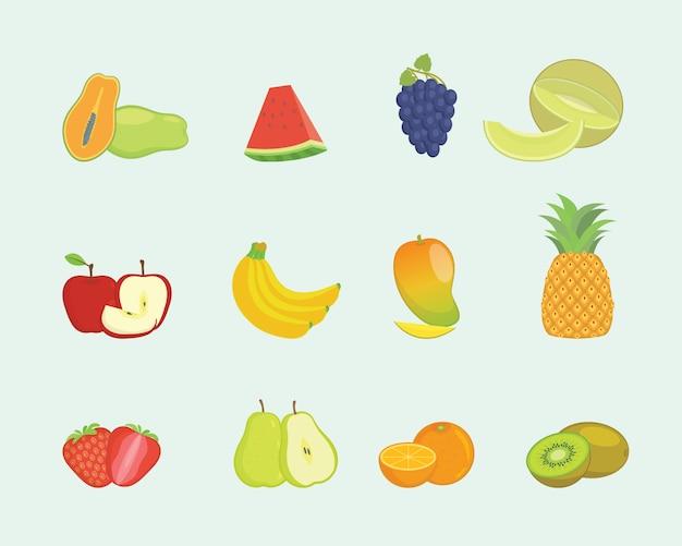 Colección de set de frutas con formas variadas y varios colores con estilo moderno y plano