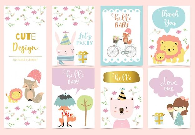 Colección de set de tarjetas de animales