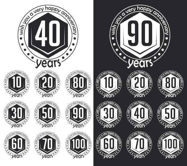 Colección de signos de aniversario de estilo vintage. diseño de tarjetas de aniversario en estilo hipster.