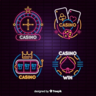 Colección de signos de casino neon