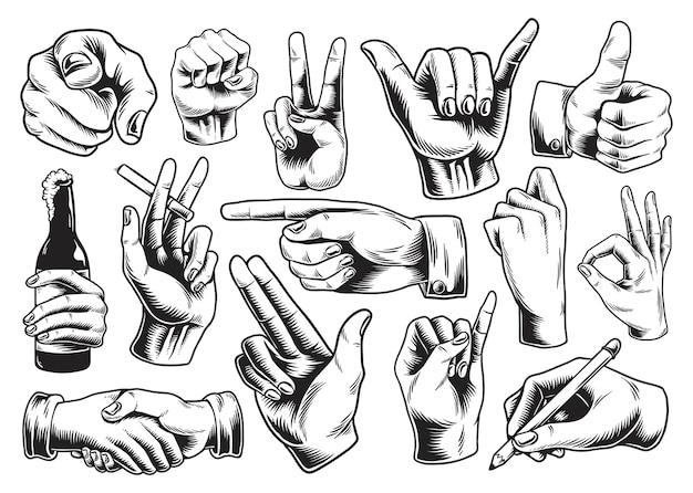Colección de signos de mano ilustrados