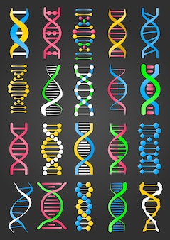 Colección de signos de moléculas de adn en negro