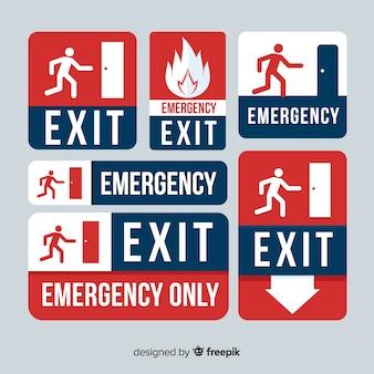 Colección de signos de salida de emergencia
