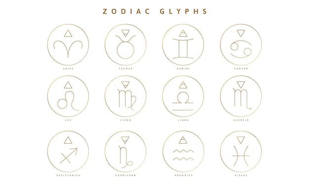 Una colección de signos y símbolos de los glifos del zodíaco