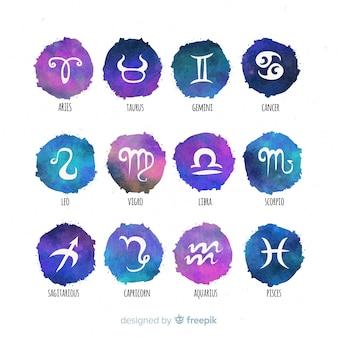 Colección signos zodíaco acuarela degradada