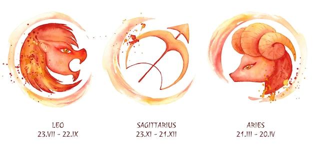 Colección de signos del zodíaco en acuarela pintados a mano