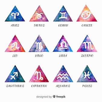Colección signos del zodíaco acuarela