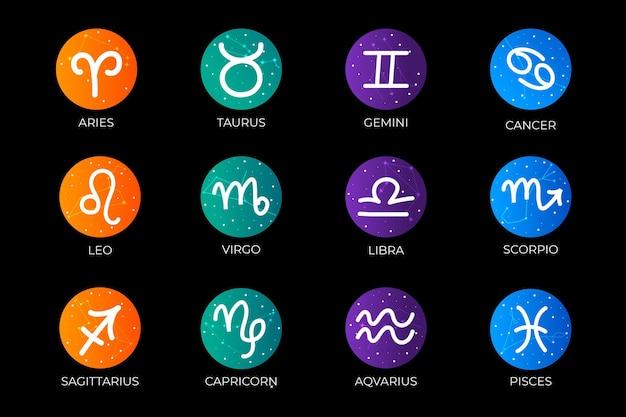 Colección de signos del zodiaco degradados