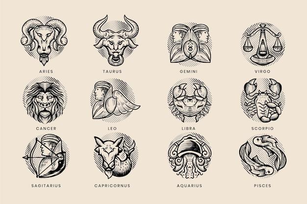 Colección de signos del zodíaco dibujados a mano de grabado