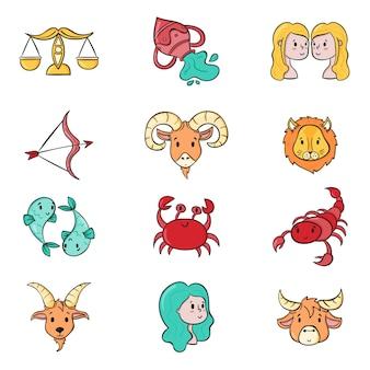 Colección de signos del zodíaco dibujados a mano
