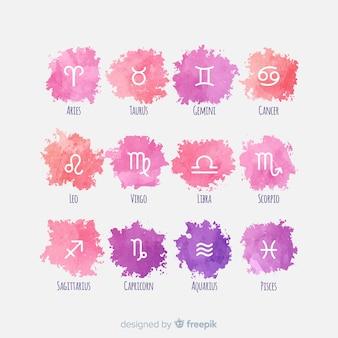 Colección de signos del zodiaco estilo acuarela
