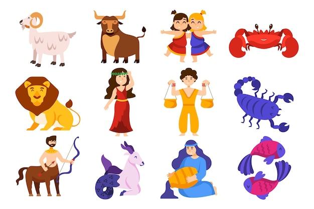 Colección de signos del zodíaco estilo dibujos animados
