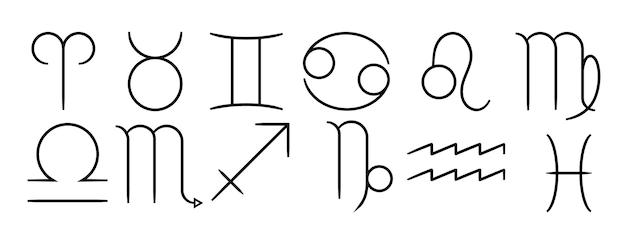 Colección de signos del zodíaco lineales