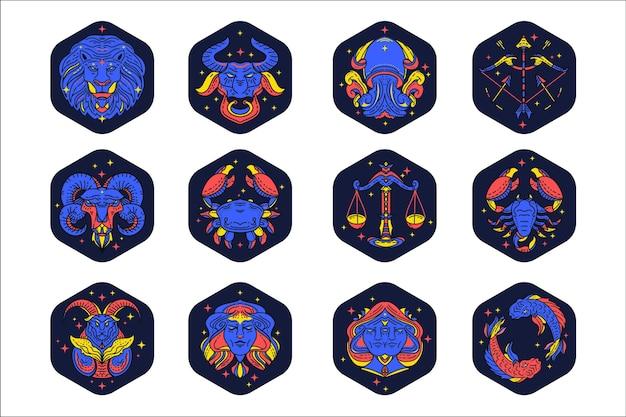 Colección de signos del zodiaco planos lineales