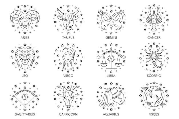 Colección de signos del zodíaco sobre fondo blanco. iconos de arte de línea.
