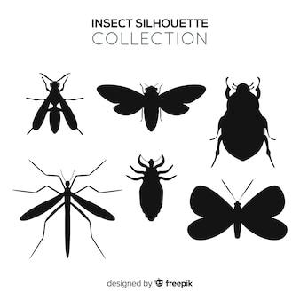 Colección silhouette insectos