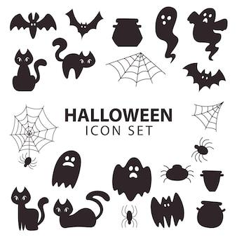 Colección de silhoutte de icono de artículo de halloween para decoración o pegatina