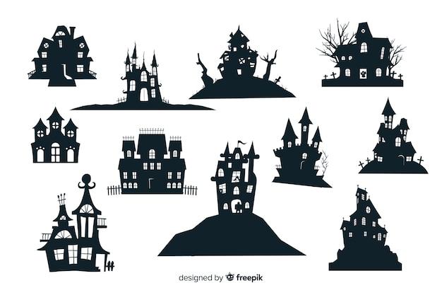 Colección de silueta de casa embrujada de halloween