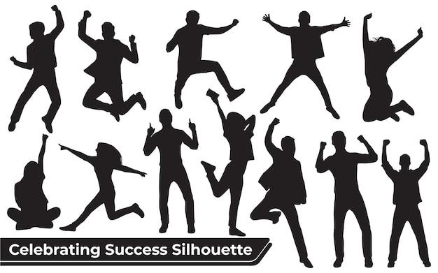 Colección de silueta de celebración de éxito en diferentes posiciones