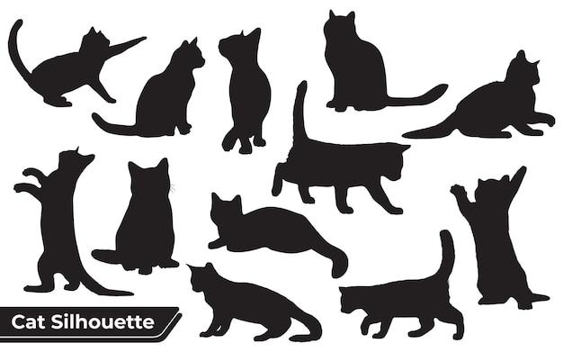 Colección de silueta de gatos en diferentes posiciones.