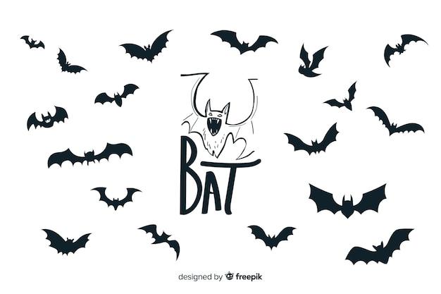 Colección de silueta de murciélagos de halloween