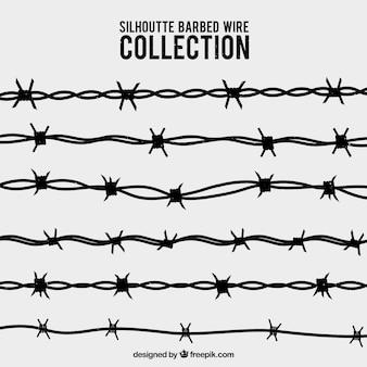 Colección de siluetas de alambres de espina