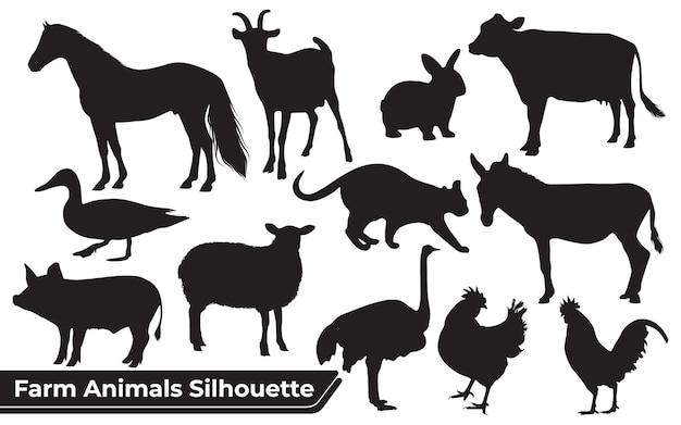 Colección de siluetas de animales de granja en diferentes posiciones.